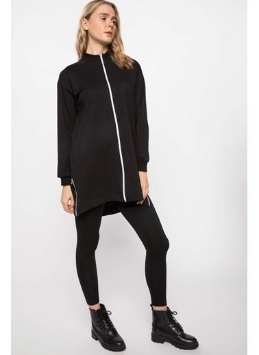DeFacto Fermuar Detaylı Uzun Kollu Tunik Siyah